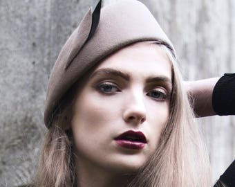 Shaped Beret, Camel Winter Hat with Leather Leaf Shape - Kimi