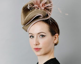 Straw Hat for The Races, Fascinator for Garden Parties, Mother of the Bride Headpiece with Feathers - 'Twisted Form'