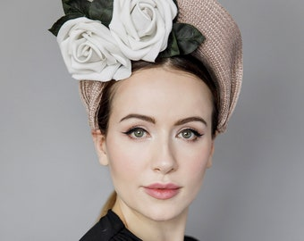 Straw Fascinator with Vintage Style Rose, Halo Hat, Race Wear Headpiece - Rose Crown