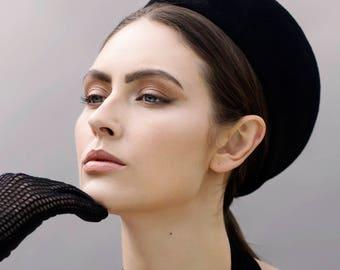 Pillbox Hat Jackie O Style, Felt Ladies Vintage Beret Style Beaded Hat, 1960's Era - Valentina