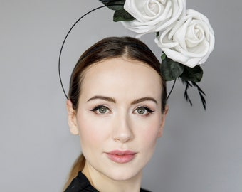 """Halo Headpiece with Roses, Fascinator for the Races, Garden Parties, Wedding Millinery, Headpiece with Feathers - 'Rose Halo"""""""