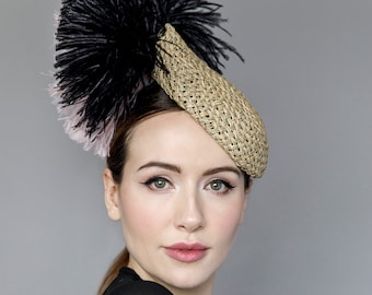Teardrop Hat in Straw, Ladies Day Millinery, Feathered Headpiece for Garden Parties & Weddings with Feathers - 'Flo'