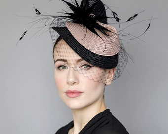 """Veiled Hat for The Races, Garden Parties, Wedding Millinery, Headpiece with Feathers - 'Rose Splash"""""""