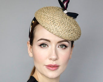 Straw Beret with Pattern Fabric, Mini Hat on Headband, Headpiece for Garden Parties, Ladies Day, Weddings - 'The Printmaker'