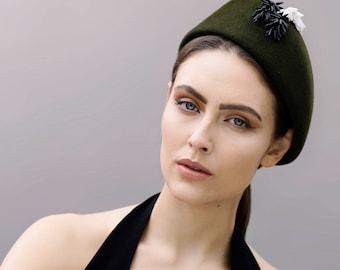Tapered Designer Beret, Beaded Parisienne Hat, Felt Beret - Oriole