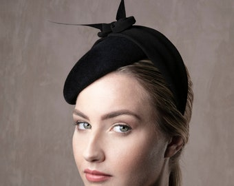 79eed38d97b Felt Beret with a Unique Pleated Fabric Band Detail with Flower Design