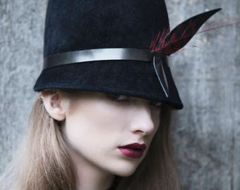 Modern Trilby Hat, Black Winter Millinery, Feathered, Leather Band - Krista