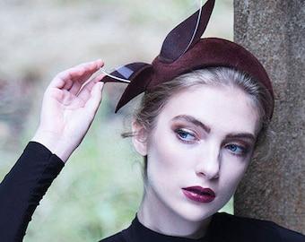 Burgundy Cocktail Hat, Felt Leaf Headband, Couture Headdress, Occasion Hat - Ais