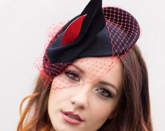 Fascinator Races Hat, Vintage Inspired Felt Hatinator with Small Veil, Colour Customisation - Kitty