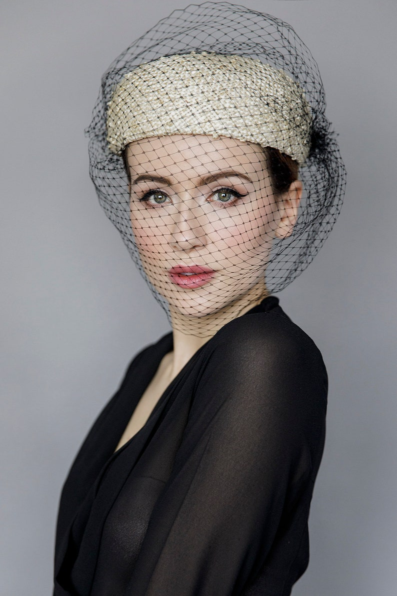 692985365a7f5 Straw Pillbox Hat with Full Veil Jackie O Style Veiled