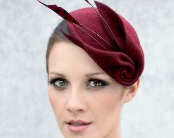 Fascinator Cocktail Hat with Feathers, Sculpted Felt Headpiece, Mini Hat, Ascot Hat - Louisa