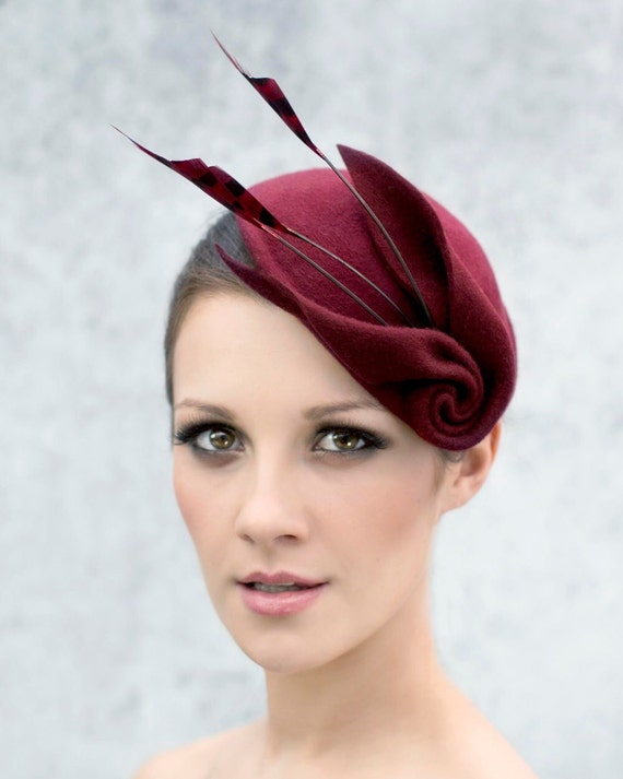 Fascinator Cocktail Hat with Feathers Sculpted Felt  02cdb43c49d