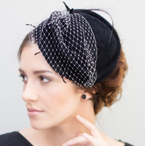 Felt Hat Vintage Style Veiled Cocktail Hat Black Wedding  8b612463db0