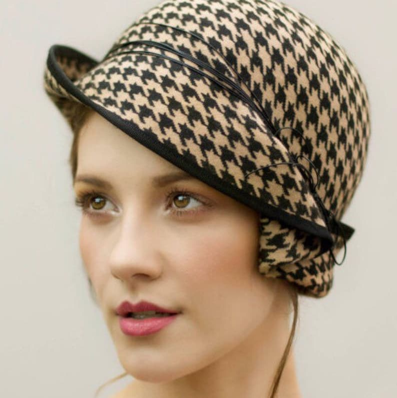 The Charis Felt Cloche Hat Houndstooth Pattern Flapper  e085aa91dbe
