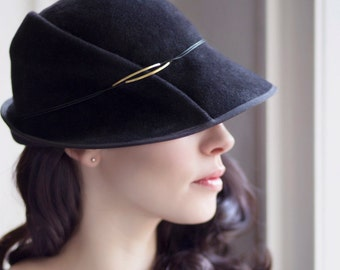 The Safran Felt Cloche Winter Classic Millinery, Made to Measure Hat, Felt Hat