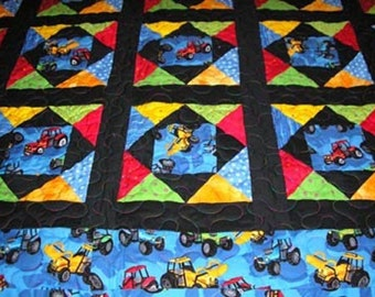 Cotton Quilt with Vehicles for Boys