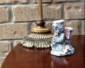 Sweet Little Antiqued Kneeling Ceramic Cherub Candle Holder
