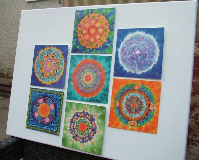Mandala Greeting Cards Set 1  Meditation Spiritual Art Silk image 0