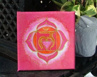 Base Chakra Silk Painting Meditation Mandala Red Muladhara