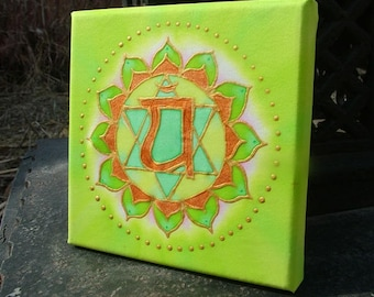 Heart Chakra Silk Painting Meditation Mandala Green Anahata