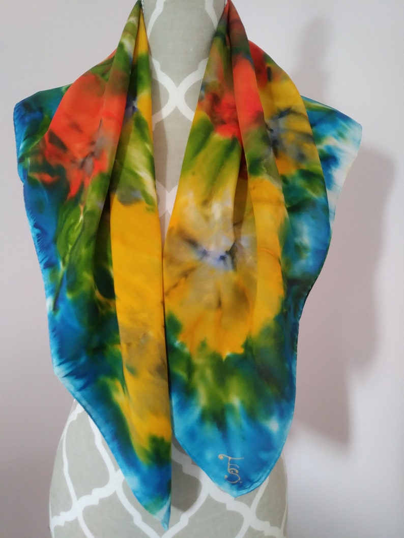 c06b6bc10ca Yellow Orange and Blue Floral Silk Scarf Abstract Hand Painted Shawl Wrap
