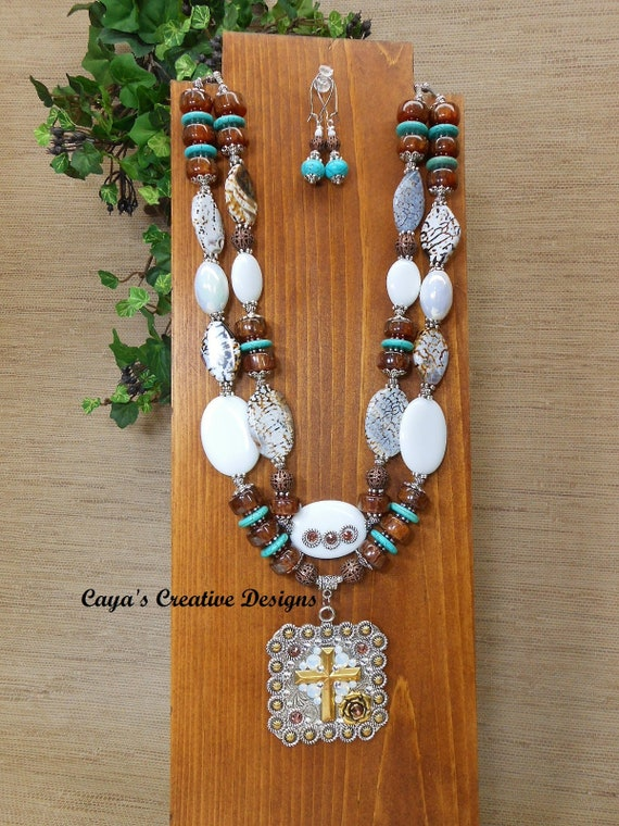 ROSE CRYSTAL CROSS Cross Pendant Statement Necklace White Mountain Jade and Agate Western Cowgirl Necklace Set Cowgirl Necklace