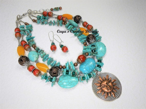 Turquoise cross layer boho necklace set~Cowgirl~Rodeo~Statement Necklace