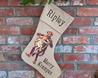 Personalized KRAMPUS Christmas Stocking, Merry Krampus, Funny, Horror, Goth, Vintage Illustration, Hand Printed, Christmas Haters