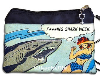 Shark Week Bag, Shark Week Period Bag, Funny Tampon Case, Geek Comic Book Design, Maxi Pad Case, Sanitary Pad Holder