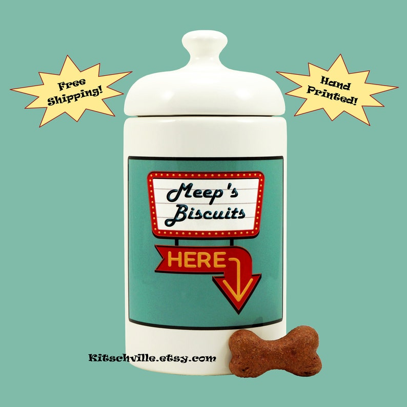 69d67c4fcb21 Personalized Dog Treat Jar with Name Custom Dog Biscuit   Etsy