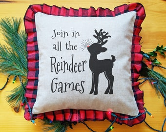 Reindeer Christmas Pillow Cover, Reindeer Games, Farmhouse Style, Rustic Faux Burlap and Buffalo Plaid Throw Pillow Case, Red Nose