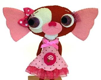 Gizmo sister handmade felt art doll gremlin GIZZY
