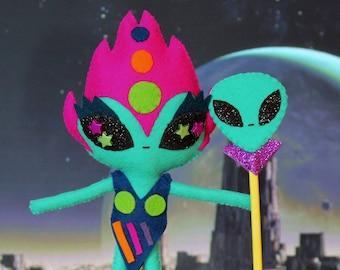 KRAKYR Handmade ooak art felt doll alien explorer