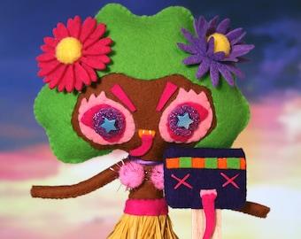 Handmade art felt doll hula hawaiian flowers alien tiki totem HOOLA