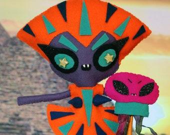 Handmade art felt doll ooak pharaoh egyptian alien Ancient Egypt Queen jellyfish SACMIS