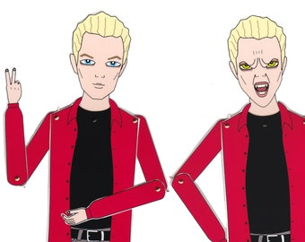 Spike Buffy the vampire slayer tribute fan art paper doll assembled articulated James Marsters two heads