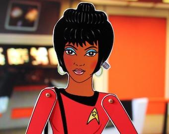 Nyota Uhura Star Trek TOS assembled articulated paper doll Nichelle Nichols tribute fan art Trekkie gift