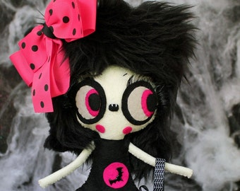 Vampire felt doll VERBENA with a coffin bag OOK art doll halloween decoration