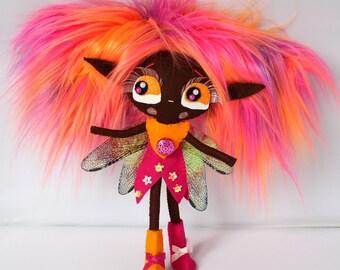 TIPPI handmade ooak felt art doll fairy wings