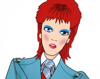 David Bowie Life on Mars paper doll assembled articulated tribute fan art posable