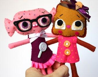 Anthropomorphic art mini felt set of 2 dolls handmade toast candy TOASTLITHA & SWEETZIE