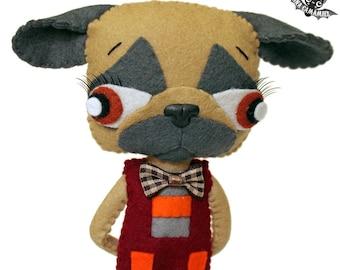 Handmade ooak felt art doll pug carlin dog PUGTERSON