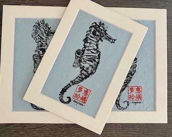 Commemorative Seahorse on Baby Blue Unryu