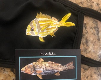 Handpainted porkfish mask