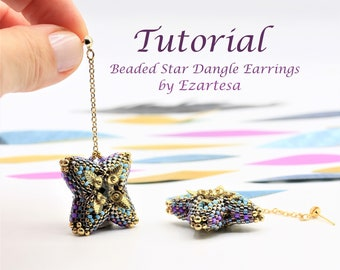 Beaded Bead Dangle Earrings Tutorial, Beaded Star Earrings Pattern with Glass Seed Beads and Swarovski Crystals by Ezartesa.