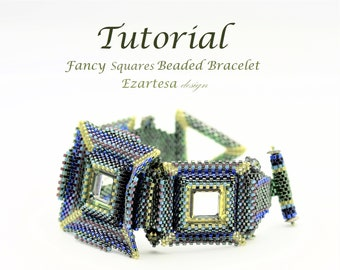 Fancy Squares Beaded Bracelet Tutorial with Glass Seed Beads and Swarovski Crystals by Ezartesa