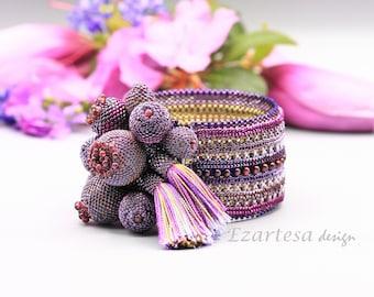 Garnet Gemstone and Purple Glass Seed Bead Beaded Statement  Bracelet with Silk Tassels, Beadwork by Ezartesa