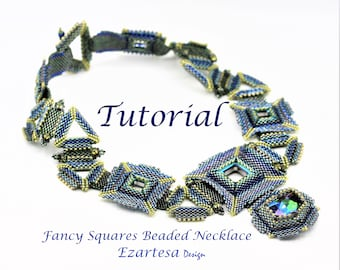 Fancy Squares Beaded Necklace with Glass Seed Beads and Swarovski Faceted Fancy Stones, Geometric Shape Beaded Necklace by Ezartesa