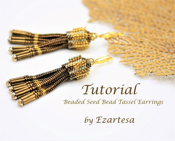 Beaded Tassel Earrings Tutorial, Beaded Seed Bead Tassel Earring Pattern, Gold and Dark Gold Bead Earrings with Swarovski Rose Montees .