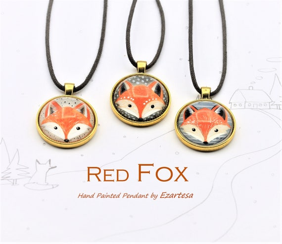Items similar to Red Fox Necklace, Watercolor Painting of Red Fox Dangling From The Brown Cotton Cord, Original Hand Painted Pendant by Ezartesa on Etsy